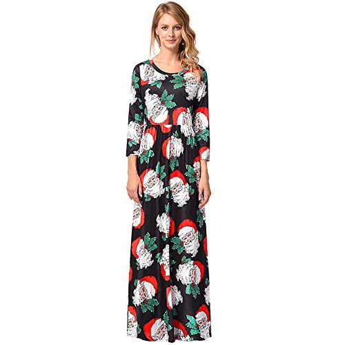 Robe 1207 Manche Impression Rond Noel Jupe Col Femelle Longue Polyester w6HPR