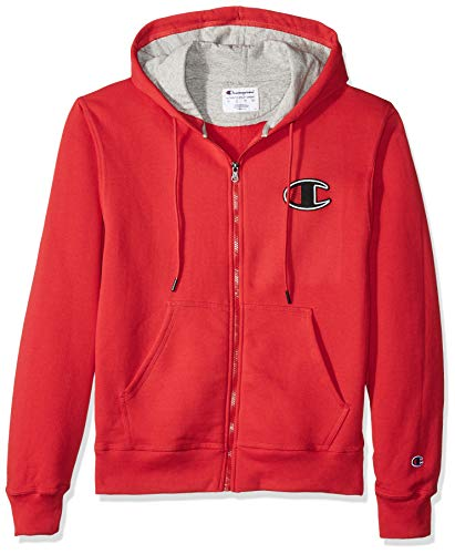 Champion Men's Graphic Applique Powerblend Zip Hood, Team red Scarlet Medium