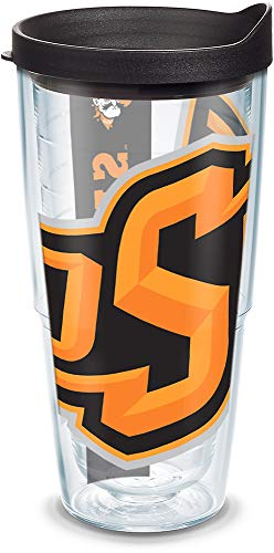 (Tervis 1093022 Oklahoma State Cowboys Colossal Tumbler with Wrap and Black Lid 24oz, Clear)