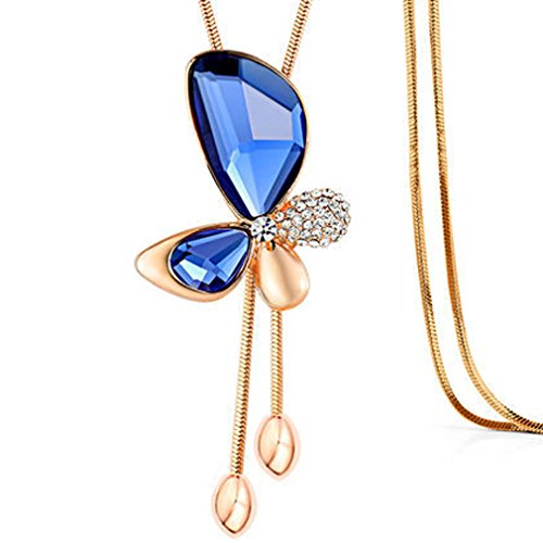 [G&T Women Fashion All-match Crystal Butterfly Sweater Chain Long Tassel Necklace Gift(C2)] (Homemade Dragon Costumes Ideas)