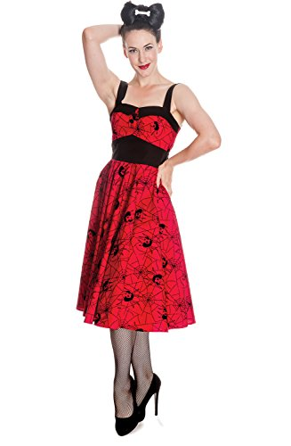 Hell Bunny Black Widow Retro 50s Swing Rockabilly Tattoo Vintage Halter Dress (XS) (50s Tattoos)