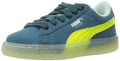 PUMA Suede LFS Iced Kids Sneaker (Little Kid), Blue Coral/Safety Yellow/Bay, 1.5 M US Little Kid