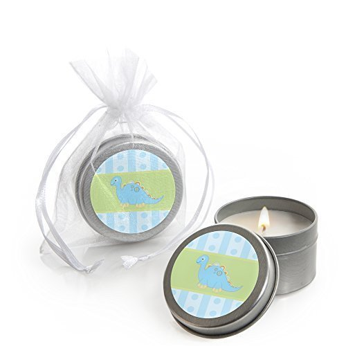Baby Boy Dinosaur - Candle Tin Baby Shower Favors - Set of 12