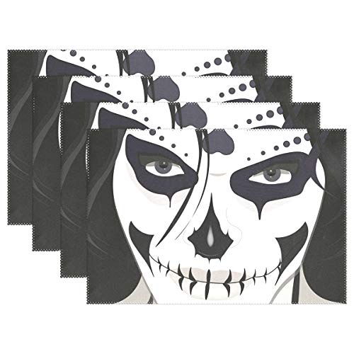 LORVIES Halloween Guy Makeup Style Placemats, Heat-Resistant Placemats Stain Resistant Anti-Skid Washable Polyester Table Mats Non Slip Easy Clean Placemats, 12