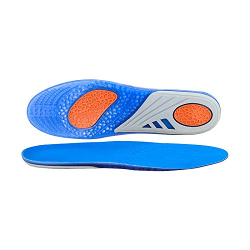 GEL Sports Insoles, Full Length Performance Shoe Inserts, Pain Relief Orthotics for Heavy Duty Support, Ice Feels with Breathable BK mesh cloth. (L: 41-47)