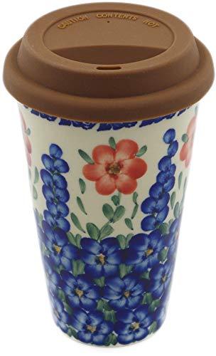 (Polish Pottery Travel Coffee Mug (Texas Garden Theme) Signature UNIKAT + Certificate of Authenticity)