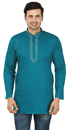 Cotton Dress Mens Short Kurta Shirt India Fashion Clothes (Blue, ()