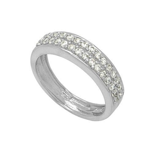 Sterling Silver CZ 2 Row Half-Around Ring Band - 8 ()