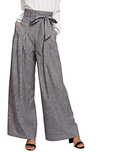 Milumia Womens Wide Leg Pants High Waist Palazzo Lounge Long Trousers Gray S