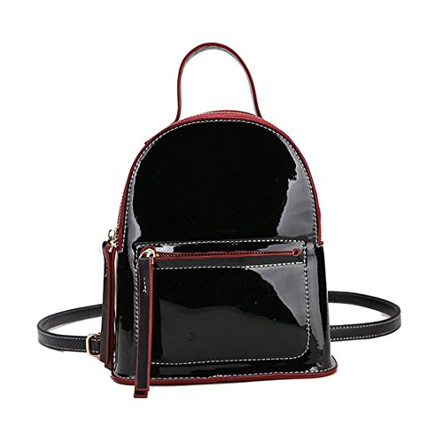 Hobo Leather Large Patent (Women Girls Kids Patent Leather Mini Backpacks Shoulder Bags Purses Outdoor Travel Daypacks (black))