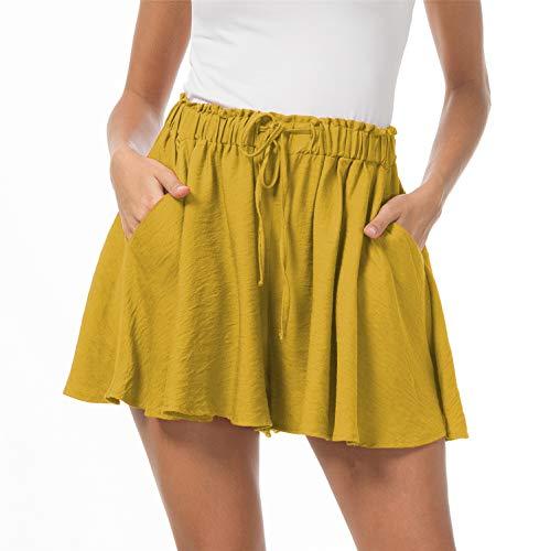 Solatin Women's Casual Elastic Waist Summer Shorts Jersey Walking Skirt Yellow 2XL ()