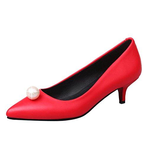 Gericht Ferse Einfarbig Schuhe Perlen Rot Kätzchen Damenmode Carolbar Frühling nZAqYxI