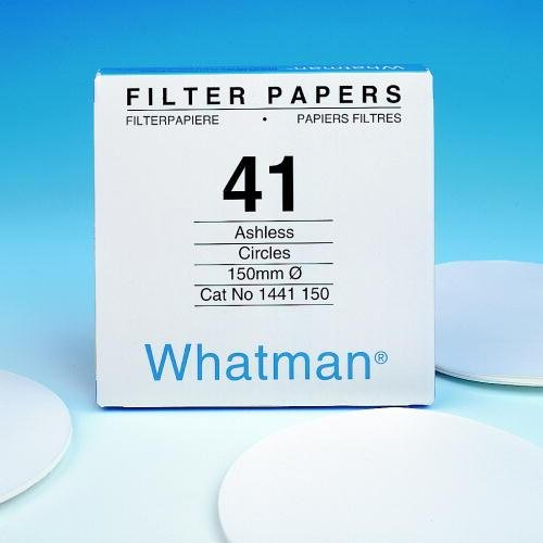 Whatman 1441-185 Ashless Quantitative Filter Paper, 185mm Diameter, 1764mL/m Flow Rate, 20 Micron, Grade 41 by Whatman