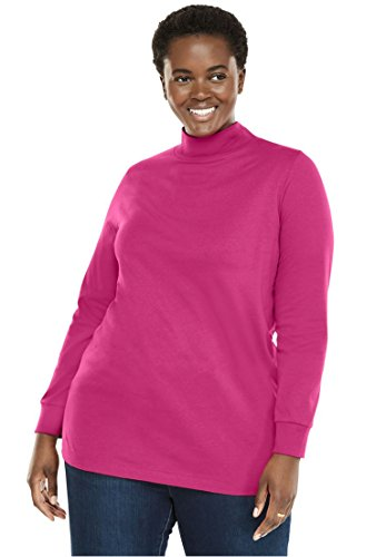 Berry Turtleneck - Woman Within Plus Size Perfect Mock Neck Knit Top - Bright Berry, 2X