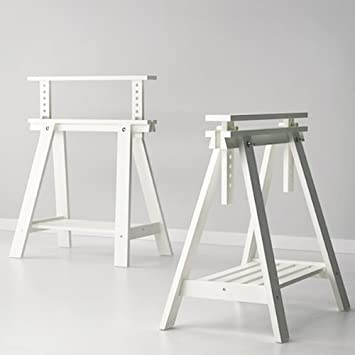 Amazing Set Of 2 White Trestles With Shelf , Height And Angle Adjustable , Great  For Drafting