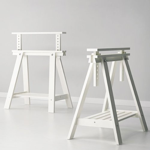 Amazon.com: Set Of 2 White Trestles With Shelf , Height And Angle Adjustable  , Great For Drafting Table Tops: Kitchen U0026 Dining