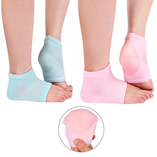 Codream 2 Pairs Spa Moisturizing Gel Heel Socks for Dry Hard Cracked Heels Open Toe Comfy Recovery Socks Foot Treament Day Night Care Pink and Green