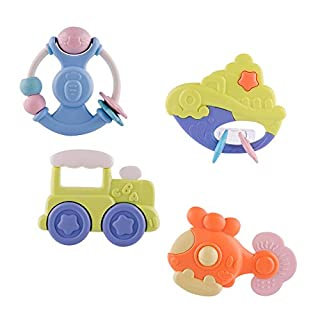 KIDAMI Baby Rattle Teether Toys, Variety of Multicolor Rattle Teether Gift Set for 3, 6, 9, 12, 18 Month Olds Baby, Infant, Newborn, Toddler (4 Packs)