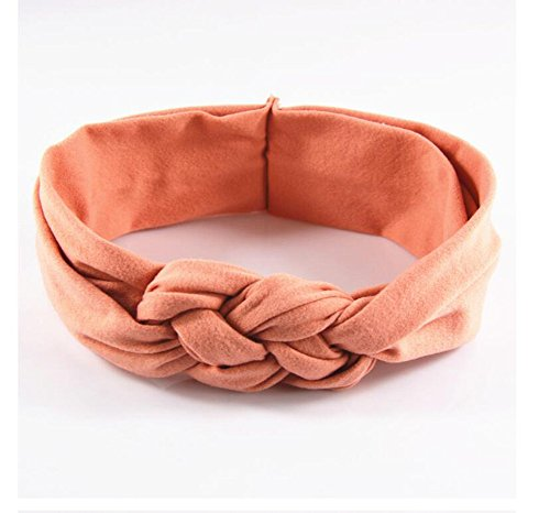 Coral Pink Natural Flower (LD DRESS Boho Floal Style Women Elastic Flower Printed Turban Head Wrap Headband Twisted Hair Band (Coral))