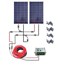 ECO-WORTHY 200 Watts Solar Bundle Kit: 2pcs 100W Poly Solar Panel + Solar Cable Adapter + 15A Charge Controller + Z Mounting Brackets for RV Boat