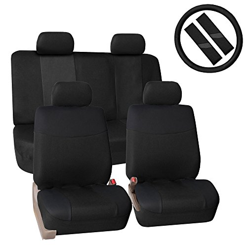FH GROUP FH-FB056114 FH Group Modern Flat Cloth Car Seat Covers Combo Set: Steering Wheel Cover and Seat Belt Pads, Solid Black Color (Combo Covers Seat)
