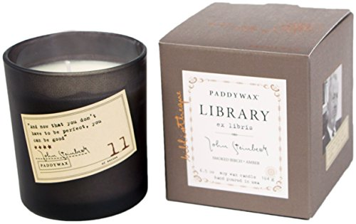 Paddywax Library Collection John Steinbeck Scented Soy Wax Candle, 6.5-Ounce, Smoked Birch & (Birch Wax Candle)