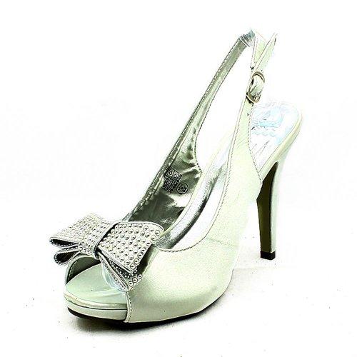 Señoras satén arco diamante - correas tachonados zapatos de dama de honor de tacón alto Silver