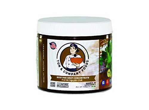 Pho Broth Concentrate (Beef broth) All Natural ingredients with No MSG, No Maltodextrin and GMO Free. This jar can make up to 6 bowls of soup in 10 (Asian Beef)