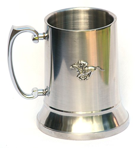 Pewter Horse Racing Emblem Stainless Steel Tankard by Pewter Wares
