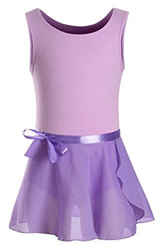 DANSHOW Girls' Classic Tank Top Skirted Leotard for Kids Gymnastics Training Dance Ballet Unitard (2-4, Purple)