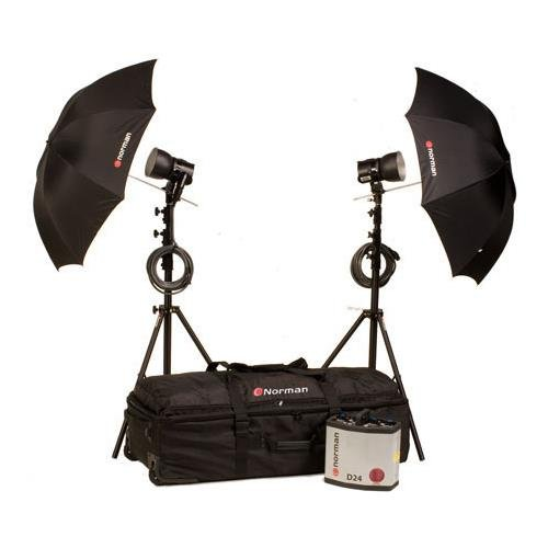 Norman D24-2 Kit, 2400ws Basic Kit with D24 Power Supply, IL2500 Lamp Heads, 5DL Reflectors, Light Stands, Umbrellas and Wheeled Case by Norman