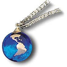 Pendant Blue Earth Marble, 22k Gold Continents, Gold Fill Chain, Half Inch Diameter Globe