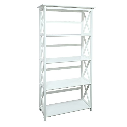Casual Home 324-51 Montego Bookcase, 5-Shelf, White