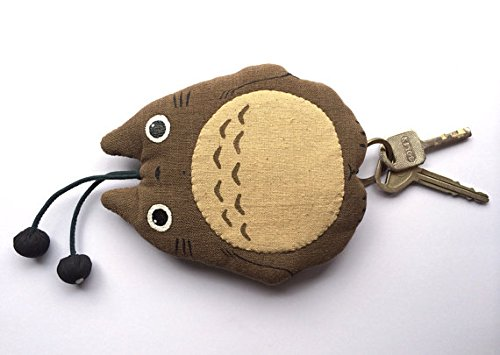 Totoro Key Cover Absolutely Natural Handloom Brown Fabric Key Rings 2