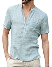 DressU Men Linen Pure Color Shirts Short Sleeve Stand up Collar Tees Top
