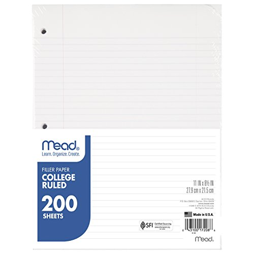 Mead Filler Paper, Loose Leaf Paper, College Ruled, 200 Sheets/Pack