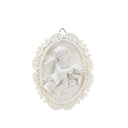 (Mega Crafts Religious Wall Décor Angel Figurines Plaque | Poly Resin Construction | Hang Or Wall Mount Via The Hanging Loop | For Praying, Home Décor, Housewarming Gift, Meditation & More )