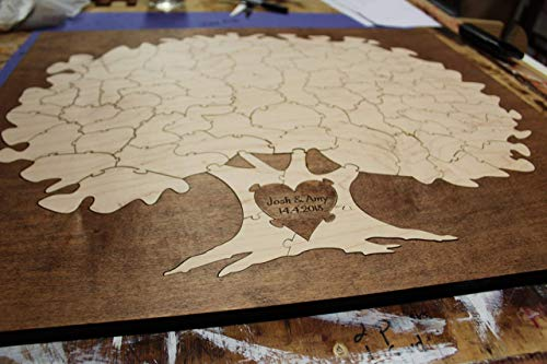 Bordered Elegant Tree Puzzle Guest Book Alternative | Wedding Guest Book ()