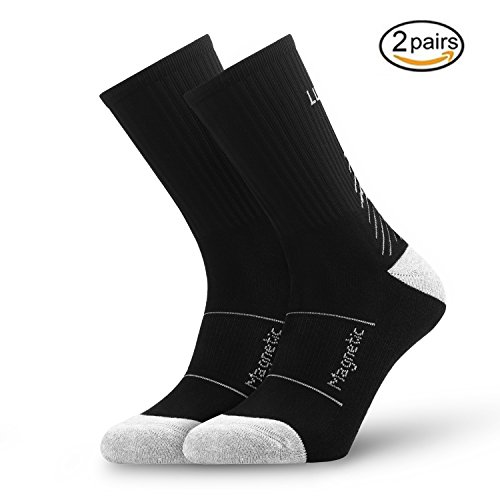 Crew Compression Socks - ADLU Cushioned Compression Athletic Crew Socks for Men&Women,Sports Socks for Basketball,Cycling,Running,Jogging,Hiking,Athletic Sports-2pairs (black/grey)