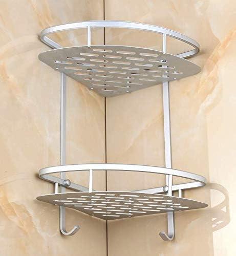 per bagno e cucina senza fori in alluminio Mensola angolare a 2 ripiani Hilier montaggio a parete