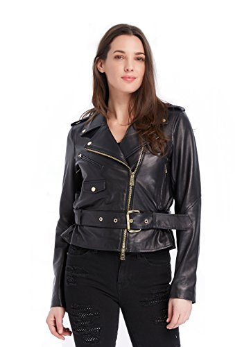 Juicy Couture BLACK LABEL Women's Moto Leather Jacket, Pitch Black, (Couture Leather Jackets)