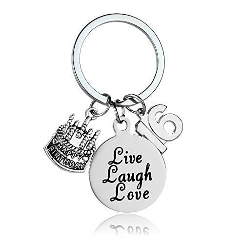 Happy Birthday Keychain, Cake Cheer Live Laugh Love Charms Key Chains, Unisex Birthday Gifts (16th Birthday)