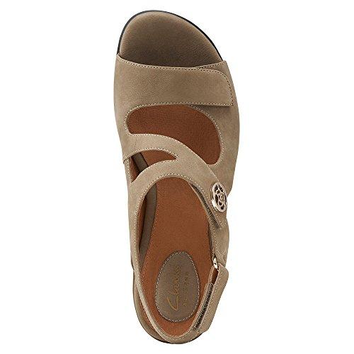 Clarks Mujeres Tiffani Aldora Wedge Sandal Taupe