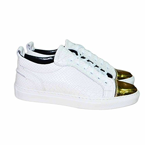 Sneakers bassa bianca pelle squamata con punta di pelle oro london vera pelle