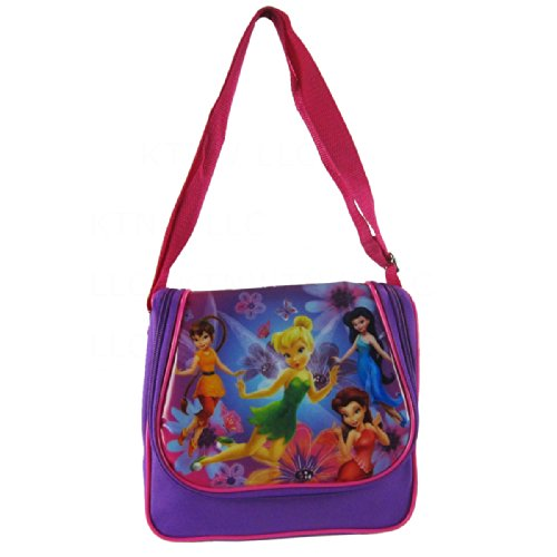 Accessory Innovations Officially Licensed Disney Fairies Adjustable Strap Saddle Bag Style Lunch Box - Fawn, Tinkerbell, Silvermist, and Rosetta
