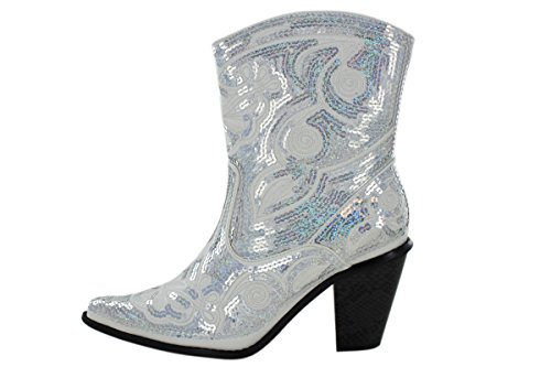 7 NEW HELENS HEART SHORT WHITE SEQUIN COWBOY BOOTS SIZE 6 10 8 9 11