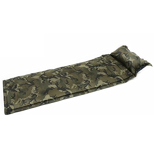 - QDZX Outdoor Inflatable Cushion Sleeping Bag Mat Fast Filling Air Moistureproof Camping Mat with Pillow Sleeping Camouflage