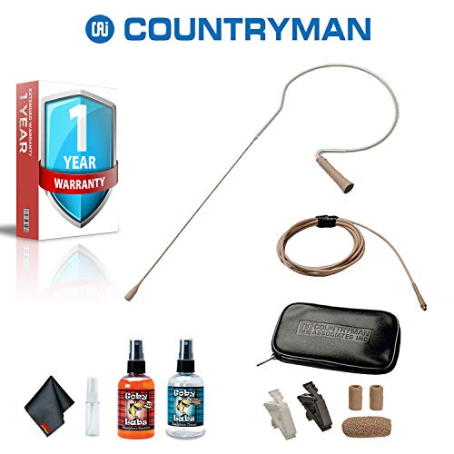 Countryman E6 Directional Earset Mic, Medium Gain, with Detachable 2mm Cable and TA4F Connector for Shure Wireless Transmitters (Beige) with with 1 Year Extended Warranty, Goby Labs Cleaning Kit
