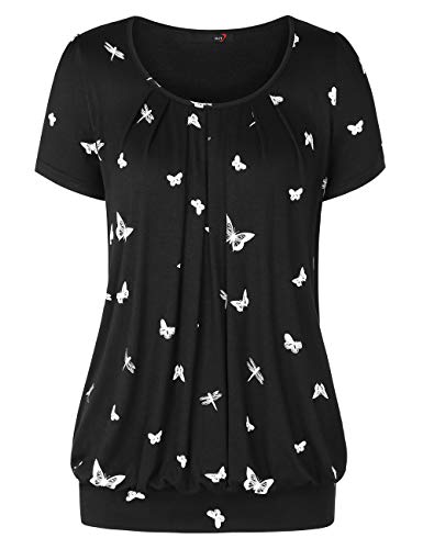- DJT Women's Scoop Neck Short Sleeve Front Pleated Tunic Top X-Large Black Floral #2