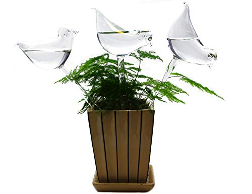 BOLUTEE 3 Pack Plant Waterer Self Watering System,Bird Shape Hand Blown Mini Durable Clear Glass Water - Waterer Glass Bird